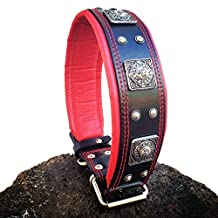 "Bestia ""Eros"" genuine leather dog collar, Large breeds, cane corso, Rottweiler, Boxer, Bullmastiff, Dogo, Quality dog collar, 100% leather, studded, L- XXL size, 2.5 inch wide. padded. Hand made in Europe!"