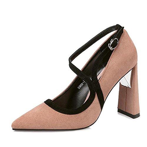 L@YC Frauen High Heels Spitzte Flachen Mund Mit 10cm Nachtclub Kampf Farbe Schuhe Apricot