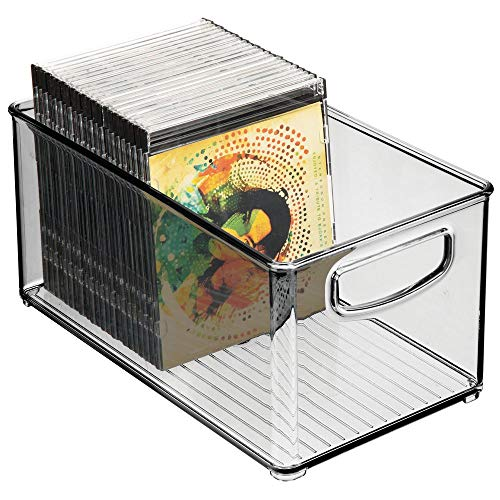 Acrylic Cd Holder - mDesign Stackable Plastic Storage Bin Container with Handles for Home Office - Holds Gel Pens, Erasers, Tape, Pens, Pencils, Markers, Notepads, Highlighters, Staplers - 5