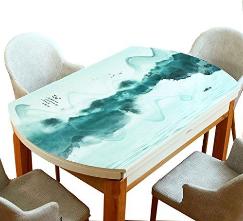 B 76120CM Nappe créative, Impression de paysage En Plastique Souple Nappe En Verre Imperméable à L'eau Nappe Ovale PVC Plaque De Cristal Nappe Longueur 120-150 CM (Couleur   B, taille   76  120CM)