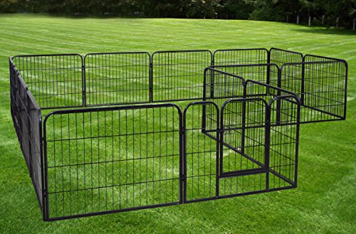 Large 16 Panels Pet Dog Cat Metal Exercise Barrier Fence Playpen Kennel Yard New (Outside Large For Fence Dog)