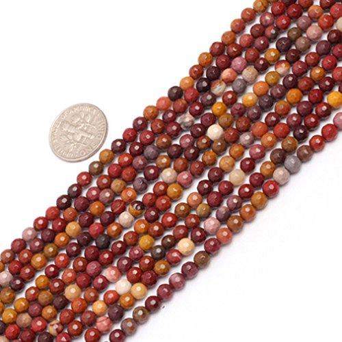 4mm Round Faceted Gemstone Mookaite Jasper Beads Strand 15 Inch Jewelry Making Beads