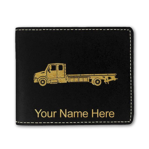 Price comparison product image Faux Leather Wallet - Flat Bed Tow Truck - Personalized Engraving Included (Black)