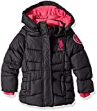 U.S. Polo Assn. Girls' Midweight Bubble Jacket with Rainbow Zip
