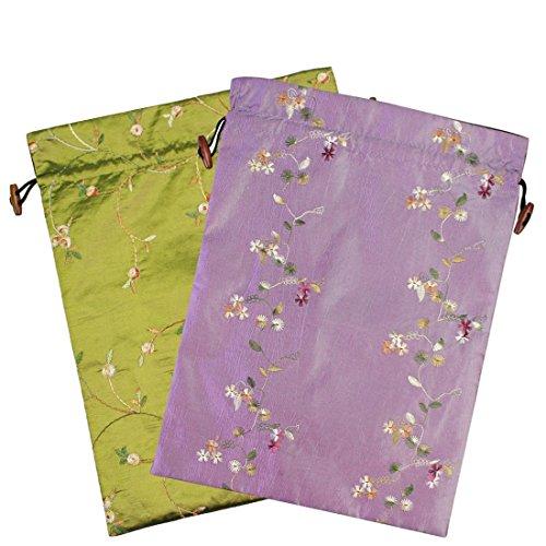kilofly Embroidered Silk Jacquard Travel Bag, Lingerie & Shoes, Value Set of (Satin Embroidered Gift Bag)