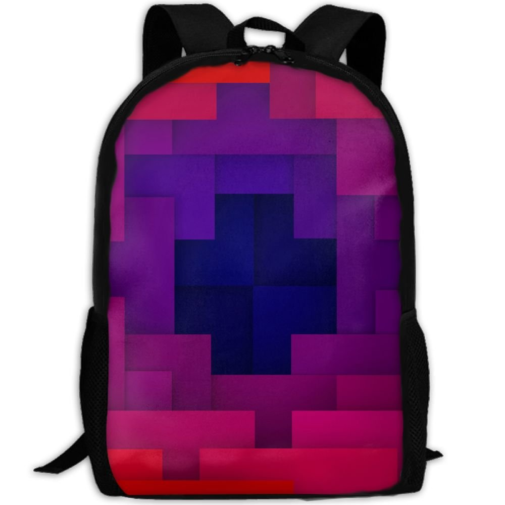 Geometry Background Red Double Shoulder Backpacks For Adults Traveling Bags Full Print Fashion
