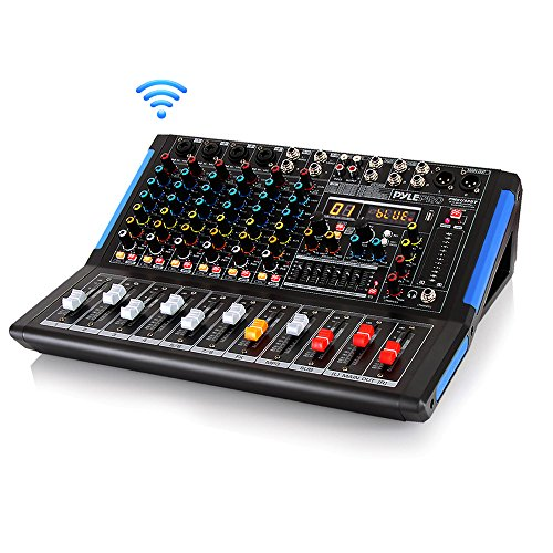 - 8-Channel Bluetooth Studio Audio Mixer - DJ Sound Controller Interface w/ USB Drive for PC Recording Input, XLR Microphone Jack, 48V Power, RCA Input/Output for Professional and Beginners - PMXU88BT