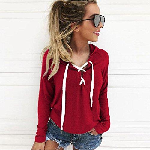 - Sweatshirt Hoodie ,Vanvler Women Lace Up Blouse Long Sleeve Crop Top Coat Sports Pullover Tops Oversize (3XL, Red)
