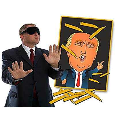 Pin The Toupee on Trump Party Game – Donald Trump Gag Gift Funny Political Gifts Free Blindfold Mask White Elephant Ideas Secret Santa Weird Trump Gifts Political Novelty Gifts Republican Democrat: Toys & Games