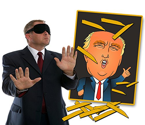 Pin the Toupee on Trump Party Game – Donald Trump Gag Gift – Funny Political Gifts –Bonus Blindfold Mask by Gears (Donkey Party Game)