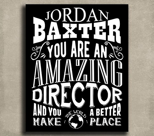 Amazing Director Custom Plaque Tin Sign Gift For Corporate Colleague Theater Company Operations Typography Personalized Metal Art Print 1227
