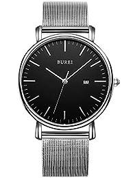 BUREI Men Mesh Stainless Steel Watch Silver-tone Quartz...