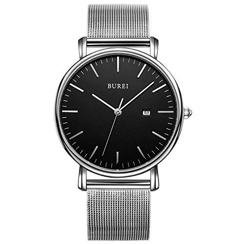 BUREI Unisex Ultra Thin Unique Men Quartz Watch Analog Dial with Metal Case Milanese Mesh Band (Black-silver) (Watch Round Metal Silver)