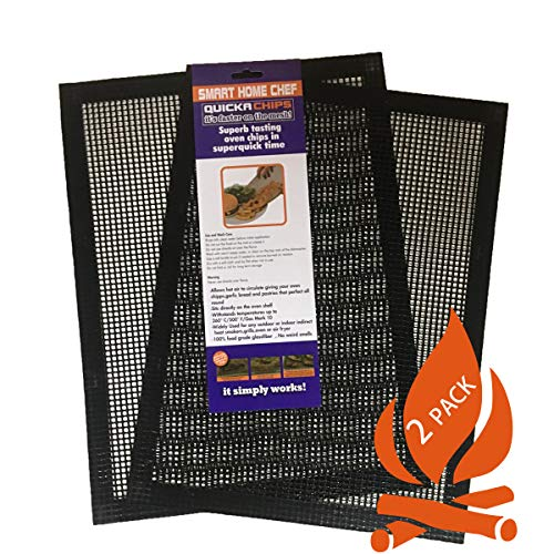 Grill Mat BBQ Tool SET of 2 – Mesh BBQ Fish and Vegetable Mat Non Stick That Allows Smoke to Pass Through Perfect For Grills, Smokers and Ovens