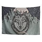 FOR U DESIGNS Wild Animal Tapestry Wall Hanging, Wolves Travel from Snow Desert to Deep Forest Determined Firm Faith Nature Scene Home Dorm Bedroom Decorative Wall Tapestry Medium