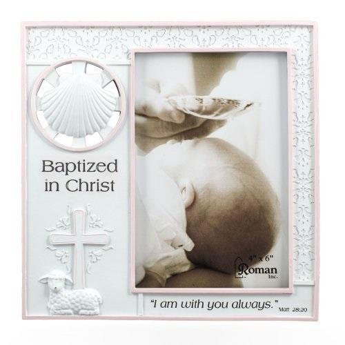 Baptized in Christ Vertical 4x6 Picture Frame - Matthew 28:20 Scripture (Pink)