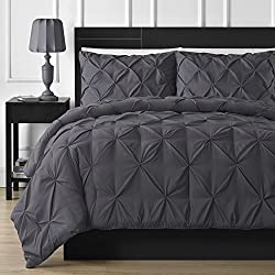 Double-needle Durable Stitching Comfy Bedding 3-piece Pinch Pleat Comforter Set (King, Gray)