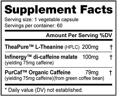 NutraBio CaffPlus Dual Source Caffeine with Theanine 60 Vegetable Capsules