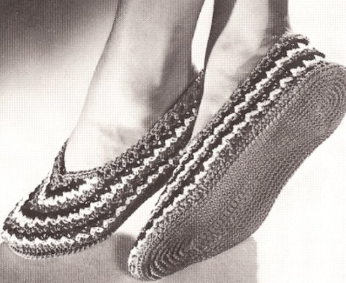 Vintage Crochet PATTERN to make - Ballet Style Stripe Slippers Soft Shoes. NOT a finished item. This is a pattern and/or instructions to make the item only.