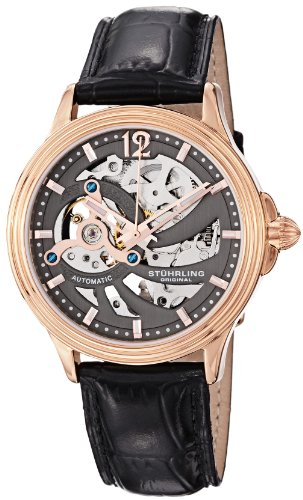 Rose 16k Automatic - Stuhrling Original Men's 170.334569 Classic Delphi Helix Automatic Skeleton Rose Tone Watch