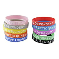 10-Pack Type 1 Diabetic Insulin Dependent Assorted Color Silicone Bracelets Medical Wristbands