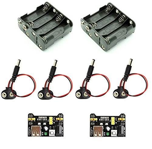 (1 set) two 8AA battery holders with 9V snap connectors, four 9V snap connectors with barrel jacks, and two breadboard power supplies 3.3V/5V