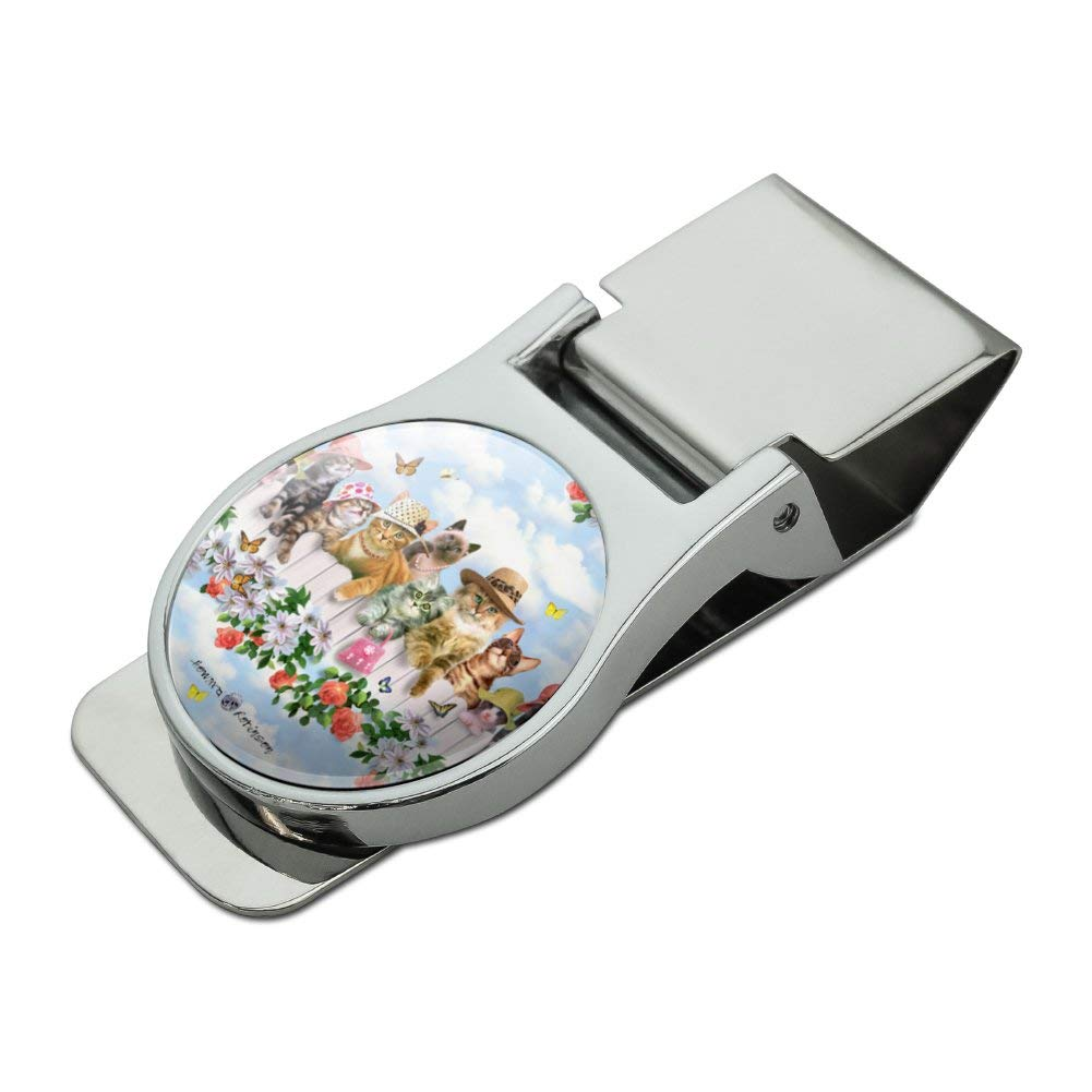 Cats in Hats Club Pattern Satin Chrome Plated Metal Money Clip