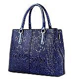 Chic-Dona Fashion PU Leather Women Bag Ladies Snake Shoulder Bags HandbagsSpring Ladies Tote Bag Blue 32cm