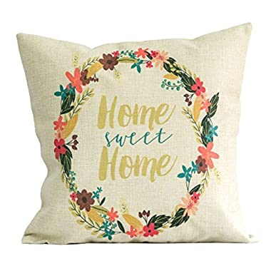 18x18 Inch Pillow Case by Mia Charo, Home Sweet Home; Cotton Linen Material, Hidden Zipper on Cover; Beautiful Home Décor by Americanflat