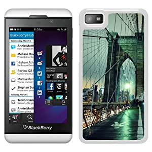 Beautiful Designed Cover Case For Blackberry Z10 With Brooklyn Bridge night New York USA White Phone Case