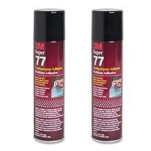 2 CANS 3M SUPER 77 GLUE MULTIPURPOSE ADHESIVE for FOIL PLASTIC PAPER FOAM METAL by Sunday Inc