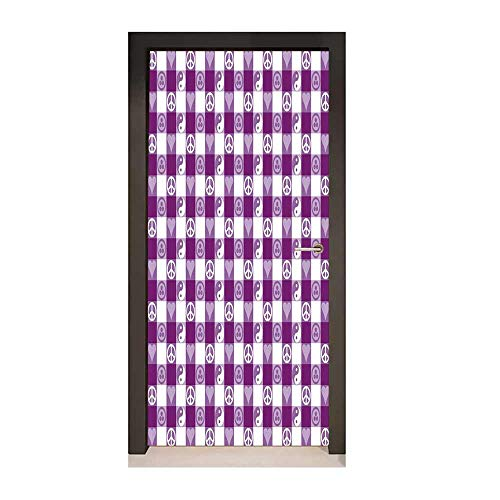 Plaid 3D Door Sticker Plaid Pattern with Hearts Ying Yang and Sign of Peace Pax Cultura Theme for Office Decoration Magenta Lavender White,W23.6xH78.7