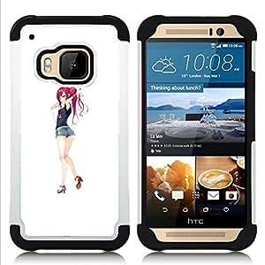 BullDog Case - FOR/HTC ONE M9 / - / SEXY ANIME GIRL REDHEAD JAPANESE /- H??brido Heavy Duty caja del tel??fono protector din??mico - silicona suave