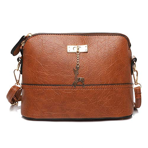 Womens Pleated Crossbody Bag Fawn Pendant Shell Shoulder Bag Messenger ()