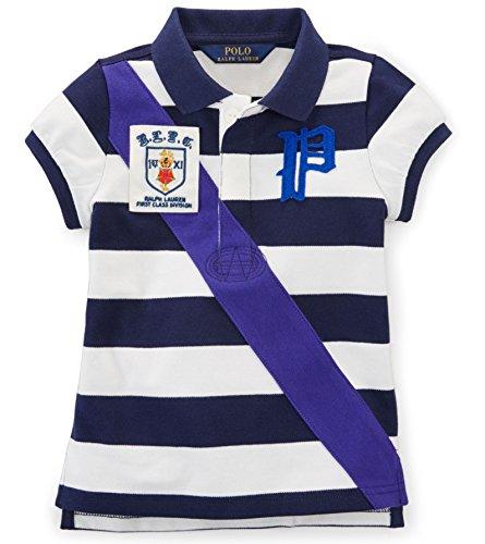 Ralph Lauren Girls' Banner-Stripe Rugby Polo Shirt (2T)