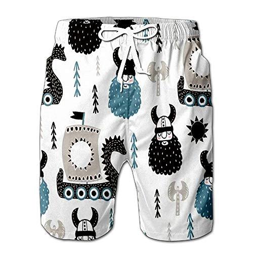 Summer Shorts Pants Childish with Vikings Trendy Scandinavian Swim Trunks Stripe Casual Swim Shorts L (Best Modeling Poses For Men)