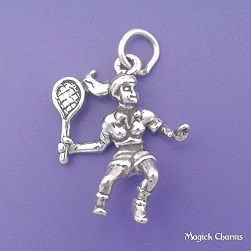 Female TENNIS PLAYER Charm Sterling Silver 3-D Pendant - lp3140 Jewelry Making Supply Pendant Bracelet DIY Crafting by Wholesale -
