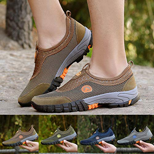 b5e2c5ff933ee Mysky Fashion Men Summer Mixed Color Breathable Comfortable Mesh Outdoor  Hiking Mountaineering Sneakers Brown