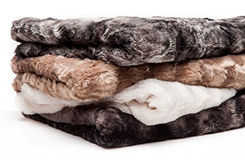 Chanasya Super Soft Fuzzy Fur Faux Fur Cozy Warm Fluffy Beautiful Color Variation Print Plush Sherpa Dark Gray Fur Twin Microfiber Throw Blanket - TWIN Gray