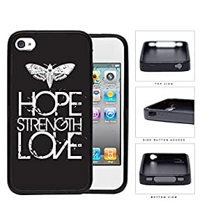 Butterfly Hope Strength Love Eroding Rubber Silicone TPU Cell Phone Case Apple iPhone 4 4s