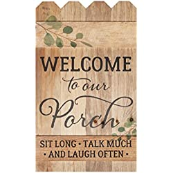 Welcome to Our Porch Natural 14 x 24 Wood Picket Fence Pallet Wall Plaque