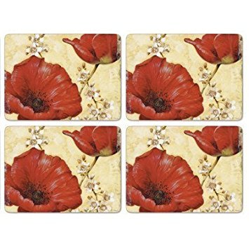 Pimpernel Poppies - Pimpernel Poppy De Villeneuve Placemats Ds Set Of 4 by Pimpernel - Art For The Table