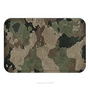 Franela de microfibra antideslizante suela de goma suave absorbente Felpudo alfombra alfombra alfombra Viejo sucio camuflaje tela 541074610para interior/exterior/cuarto de baño/cocina/Estaciones de trabajo