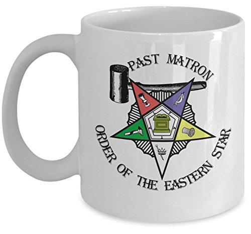 - Freemason coffee mug - Order of the Eastern Star Past Matron gavel symbol - Masonic tea cup Sistar oes O.E.S. girl- Freemasonry lodge PHA gift accessories - Sold only by Saroth design