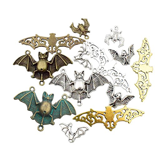 100g Big Bat Charms Collection - Antique Silver Gold Patina Flying BugBat Spooky Flittermouse Halloween Metal Pendants for Jewelry Making DIY Findings (HM32)