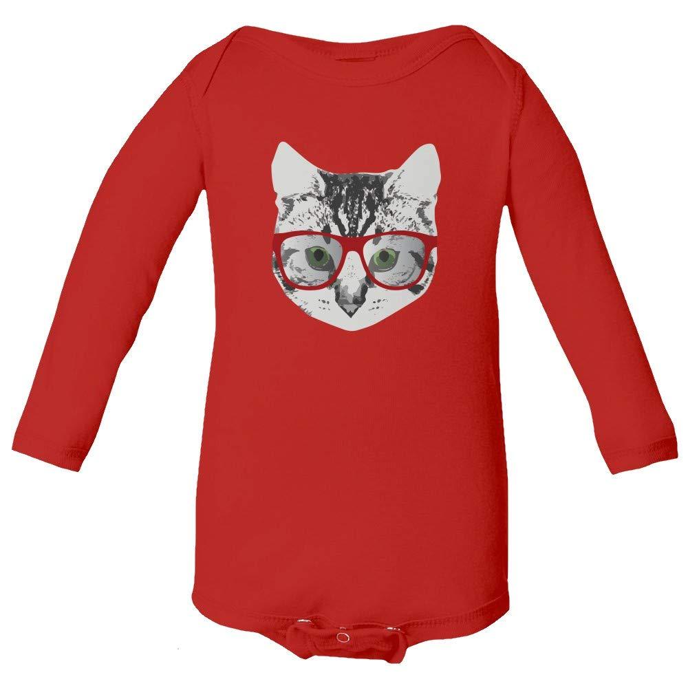 Red Linda Glasses Cat Funny Belcher Kitty Cute Humor Fun Infant Unisex Baby Long Sleeve Bodysuit (Red,NB)