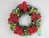 Christmas Wreath Decorations Pine Vine Ornament Decorative Flowers Festival Party Xmas Suitable For Door, Sitting Room, Hotel, Wedding Scene, Villa Decoration