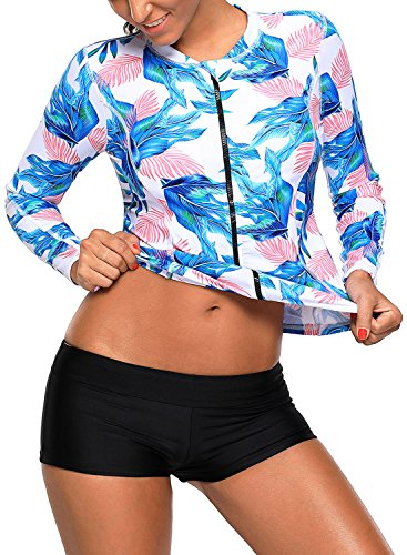 Womens Tropical Leaf Printed Zipper Front Long Sleeve Rashguard Swimwear Top Swim Shirt Leaf XX-Large]()
