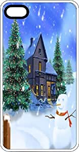 Frosty Snowman With Warm Cottage & Cedar Tree White Rubber Case for Apple iPhone 4 or iPhone 4s
