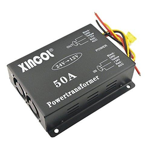 UXOXAS Vehicle Car DC 24V to 12V 50A Power Supply Transformer Converter with Dual Fan Regulation-Black